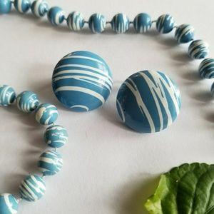 Vintage necklace earrings set blue clip back white